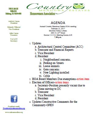 Annual Agenda | Annual Meeting Agenda Country Meadows Estates